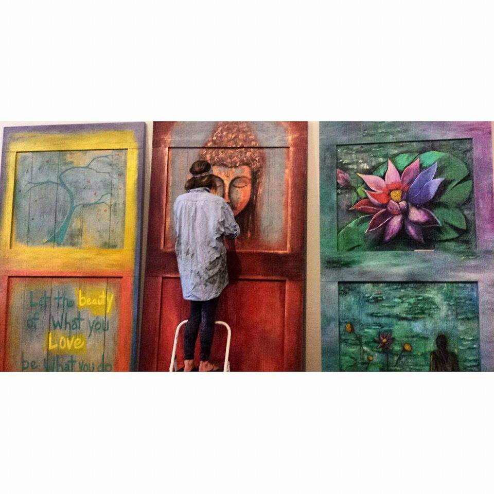 Michelle as she paints this beautiful studio door at The Yoga Studio in Indianapolis
