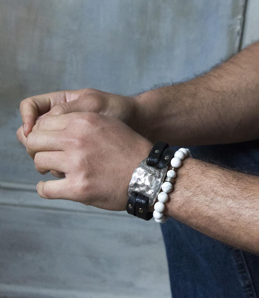 Beaded Howlite Bracelet And Silver Tile