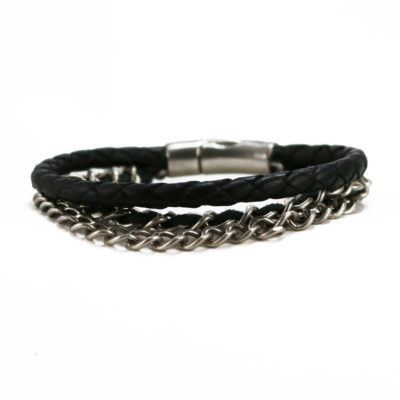 Braided Leather and Chain