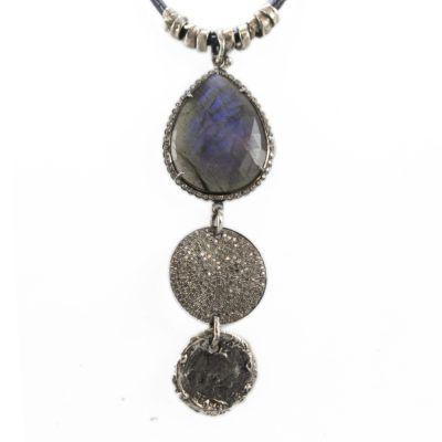 Labradorite, Dia Disc and Coin Adjustable necklace