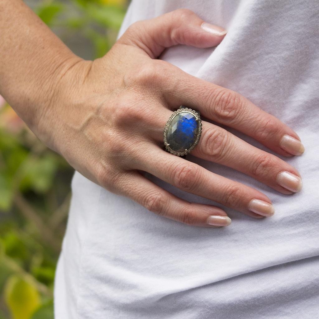Labradorite and Diamond Ring