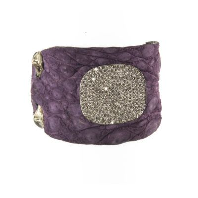 Purple Sueded Croc Dia Disc Cuff