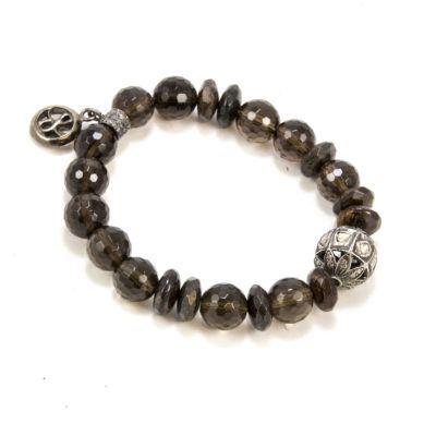smokey-quartz-diamond-beaded-bracelt
