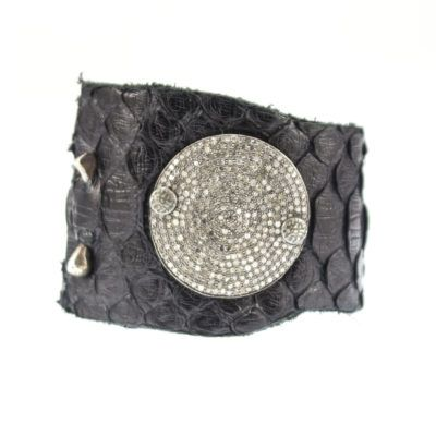 black-snake-skin-and-diamond-disc-cuff