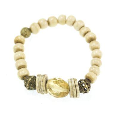 citrine-and-bone-beaded-bracelet