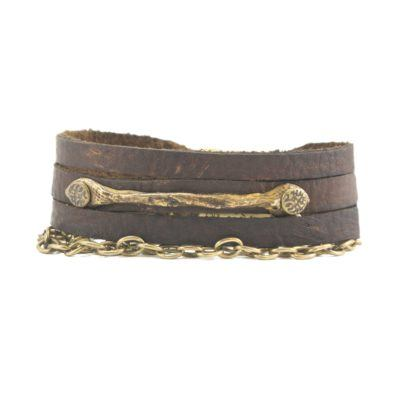 shredded-leather-bronze-bar-and-chain-bracelet