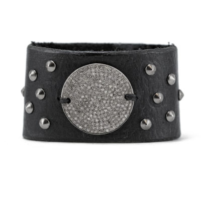 studded diamond disc cuff