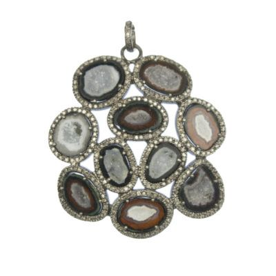 Agate and diamond busygirl pendant